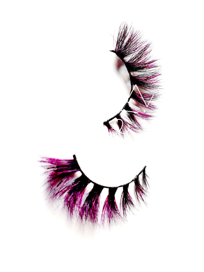 Fuzzy Cuff Black & Purple Colored Mink Eyelashes - ZivaLash Silk, Mink &Fashion Lashes
