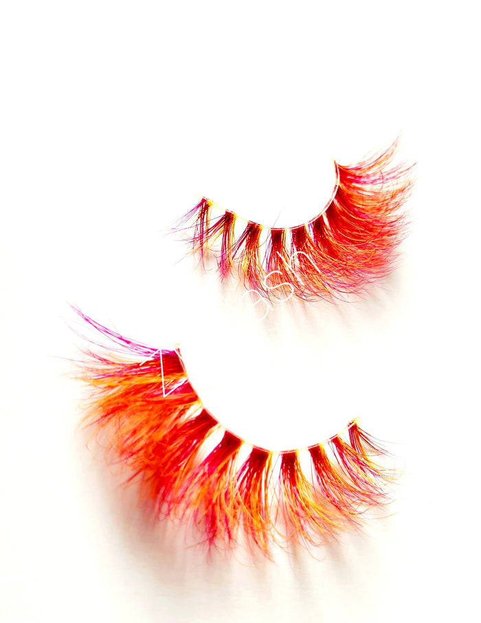 BDSM Pink & Yellow Mink Eyelashes - ZivaLash Silk, Mink &Fashion Lashes