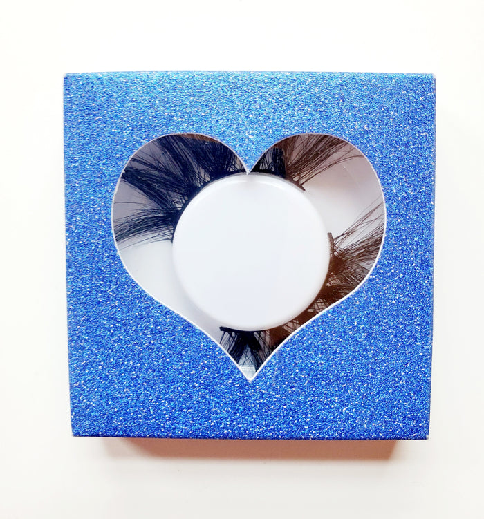 Sapphire Blue - Heart Eyelash Case Box - ZivaLash Silk, Mink &Fashion Lashes
