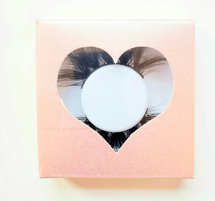 Taffy Pink- Heart Eyelash Case Box - ZivaLash Silk, Mink &Fashion Lashes