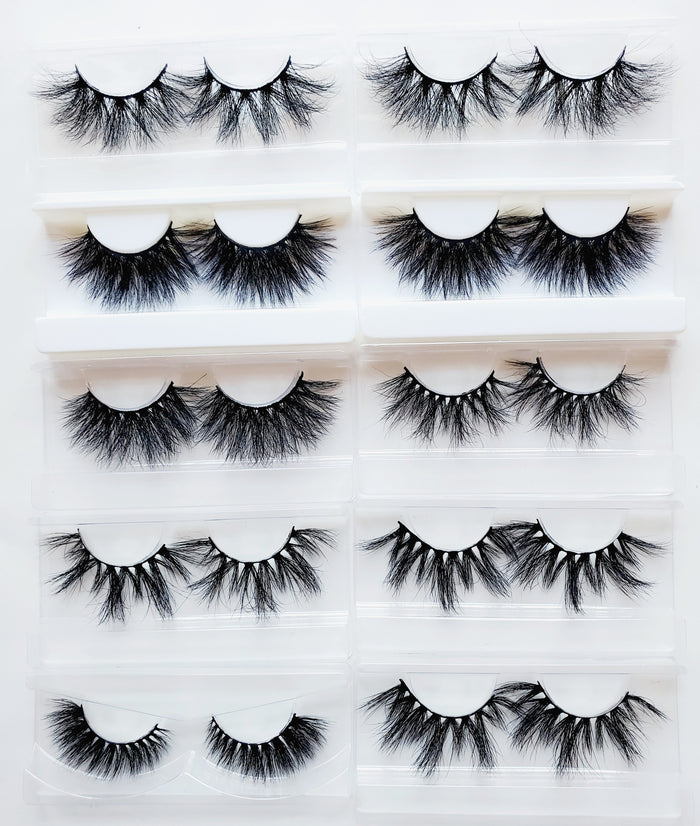 10 Pair 25MM Mink Eyelash Bundle - ZivaLash Silk, Mink &Fashion Lashes