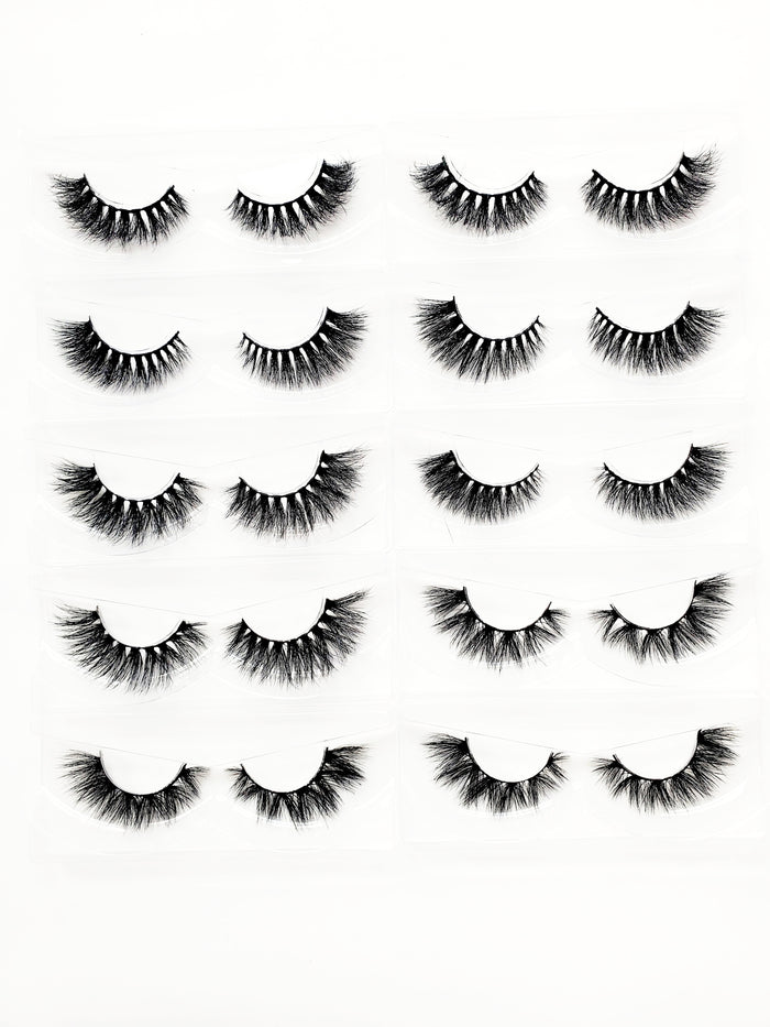 10 Pair 3D Mink Eyelash Bundle - ZivaLash Silk, Mink &Fashion Lashes