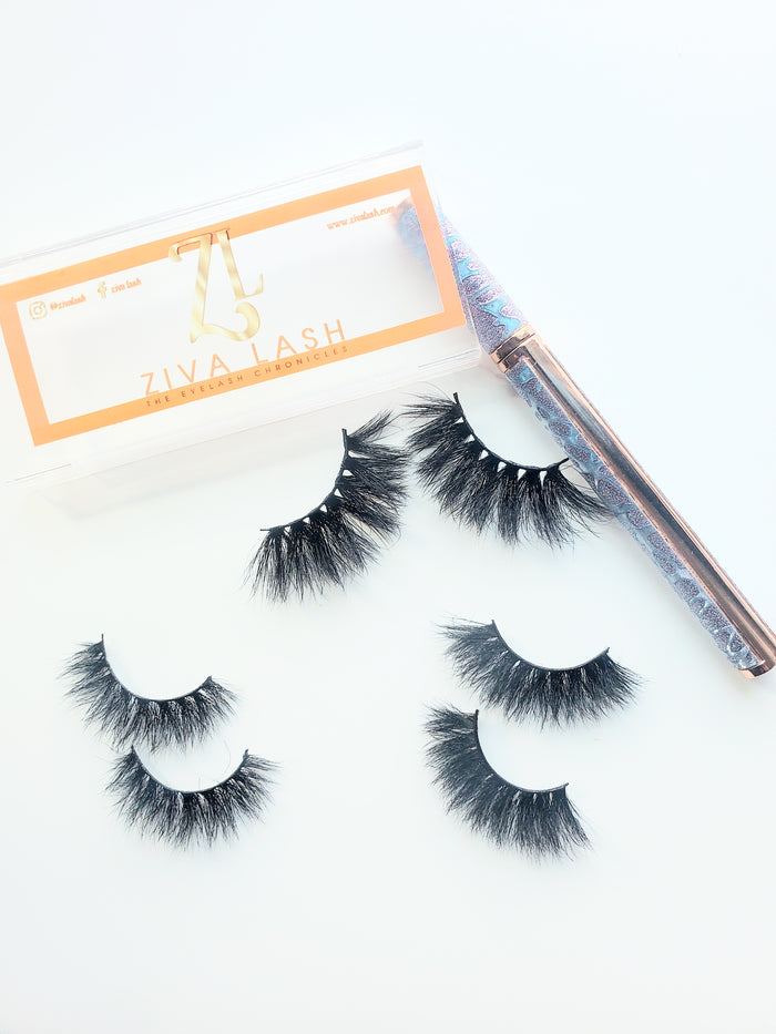 3 Mink Eyelash Bundle w/Glue Pen - ZivaLash Silk, Mink &Fashion Lashes