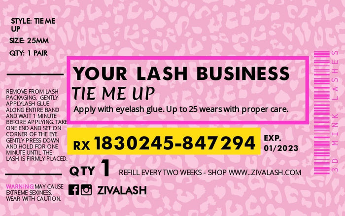 40 Custom Pill Bottle Labels - Pink Panther - ZivaLash Silk, Mink &Fashion Lashes