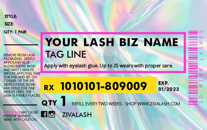 8 Custom Pill Bottle Labels - Reflection - ZivaLash Silk, Mink &Fashion Lashes