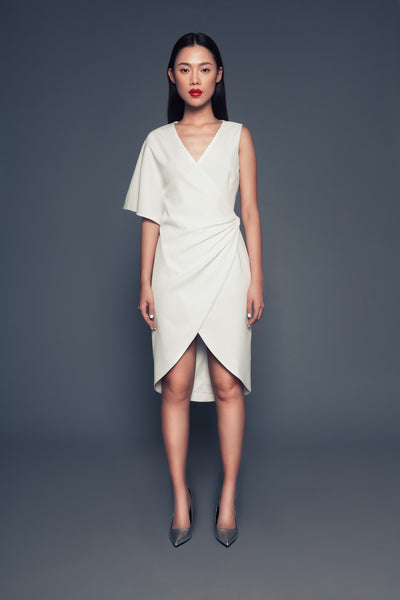 Rachel Dress in Off-white | Asymmetrical wrap dress