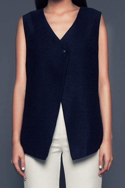 Leandra Jacket in Navy | Sleeveless jacket with back details