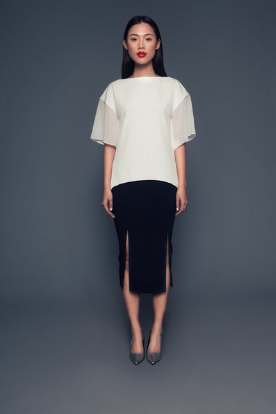 Ascia top | White blouse with sheer batwing sleeves