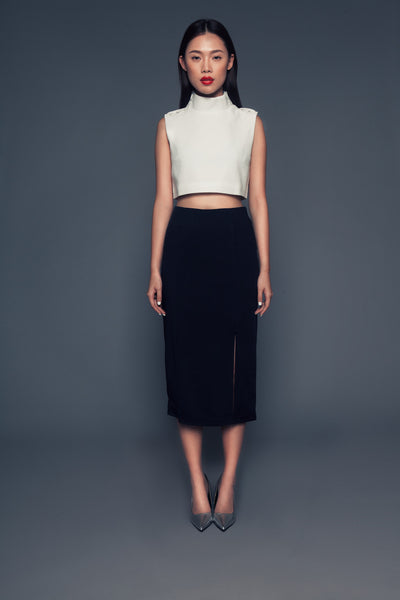 Aimee skirt in Dark Navy | Pencil skirt with double slits