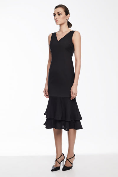 Sophia Dress in Black | Sleeveless dress with double peplum hem