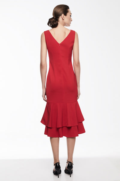Sophia Dress in Red | Sleeveless dress with double peplum hem