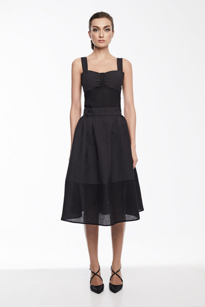 Olivia Skirt in Black | High waisted pleated skirt with sheer hem