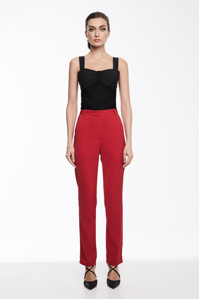 Stella Pants in Red | Straight leg dress pants