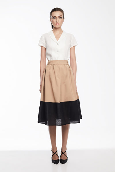 Olivia Skirt in Khaki/Black | High waisted pleated skirt with sheer hem