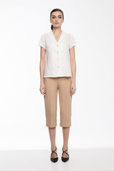 Audrey Shirt | White blouse with shawl collar