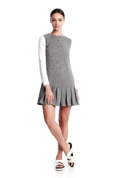 Taylor Dress | Long sleeved mini dress with box pleats