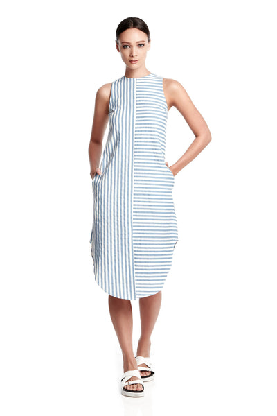 Skylar Dress | Mixed stripes dress with tails