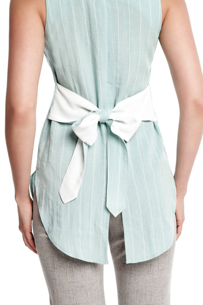 Drew Top in Mint Stripes | Tie front sleeveless top with tails