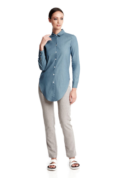 Dylan Shirt in Chambray Denim | Button down long sleeved blouse