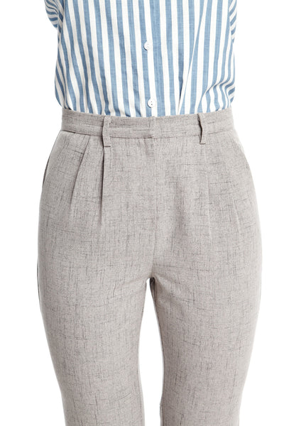 Elliott Pants in Warm Grey | Long trousers with front pleats