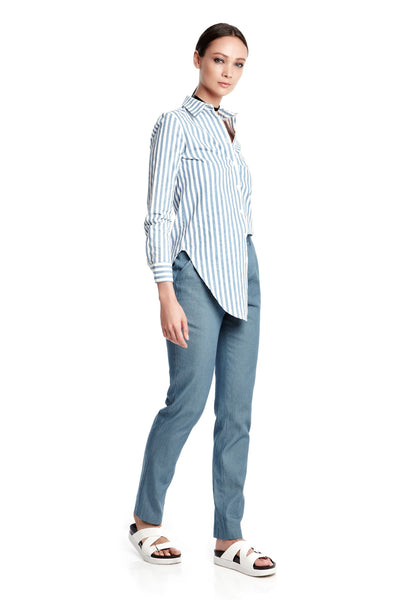 Elliott Pants in Chambray Denim | Long trousers with front pleats