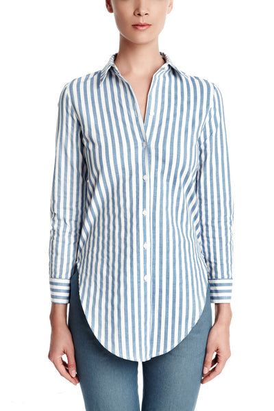 Dylan Shirt in Blue/White Stripes | Button down long sleeved blouse