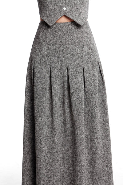 Shannon Skirt | High waisted maxi skirt with box pleats
