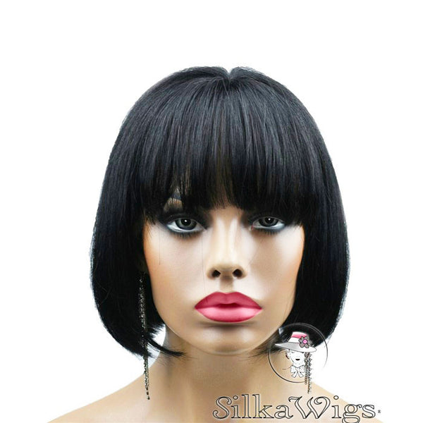 Bob Cut with Bangs 100% Human Virgin Hair Glueless Lace Front Wig