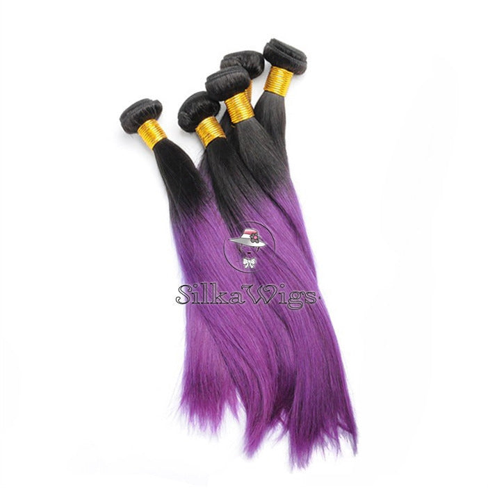 Purple Ombre 100 Human Virgin Hair Extensions Silkawigs