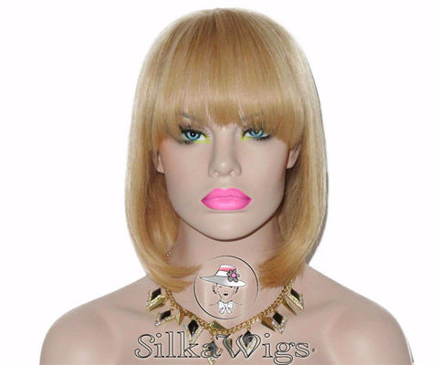 Human Hair Blonde Bob With Bangs Lace Front Wig, alopecia world, alopecia world wigs, freedom wigs, etsy