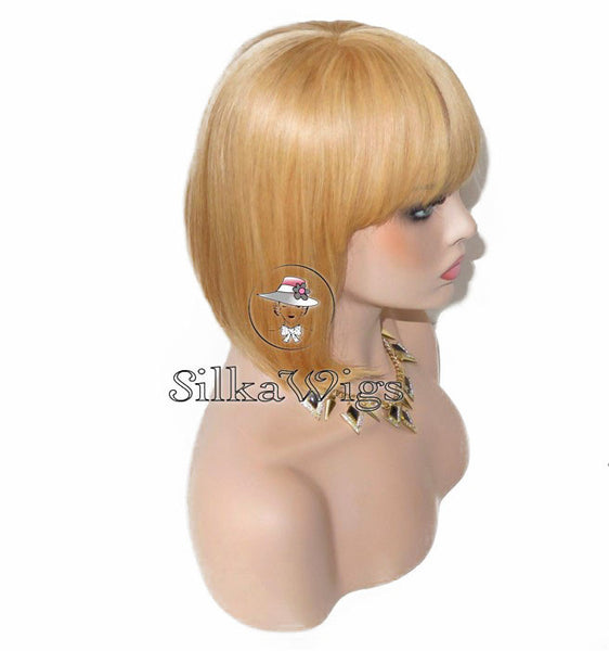 100% Human Hair Blonde Bob With Bangs Lace Front Wig