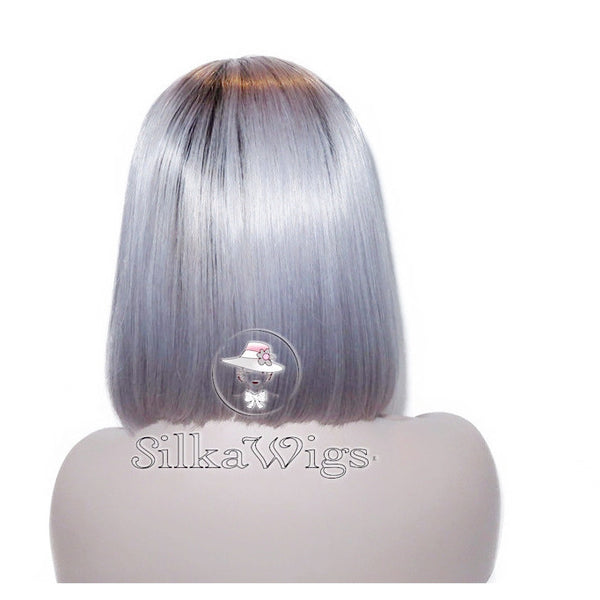 Dark Root Silver Grey Ombre Bob Cut 100% Human Hair Full Lace Wig