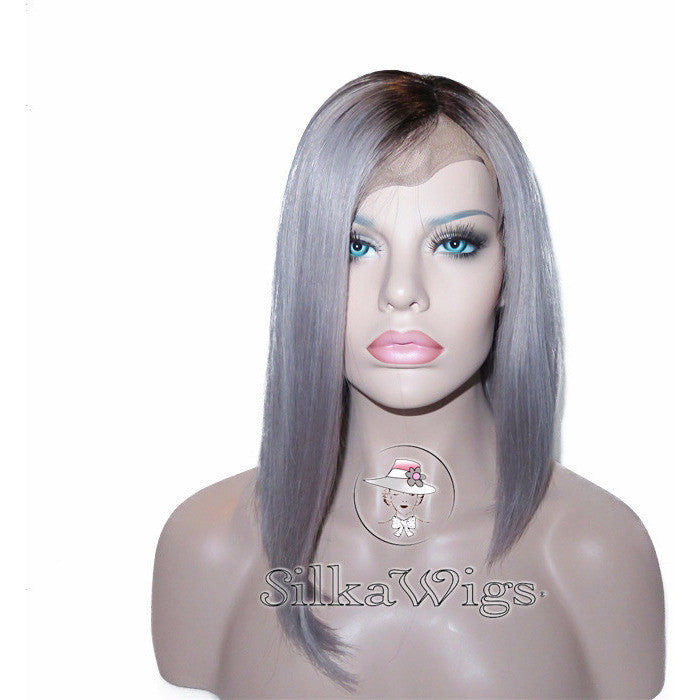 Platinum silver ombre hair Asymmetrical Bob Full Lace Wig Glueless