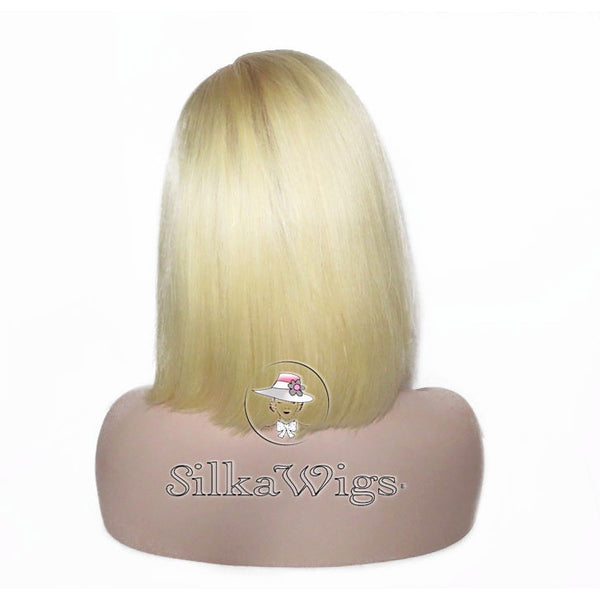 Blonde Dark Root Bob Full Silk Top Base European Human Hair Lace Wig