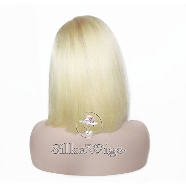 Blonde Dark Root Ombre Blunt Cut Bob 100% Human Hair Full Lace Wig