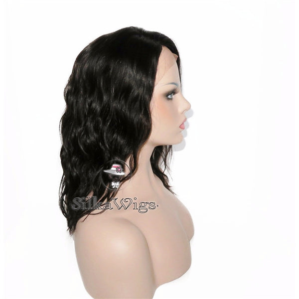 Short Hair Wavy Bob Cut Silk Top 100% European Human Virgin Hair Full Lace Wig