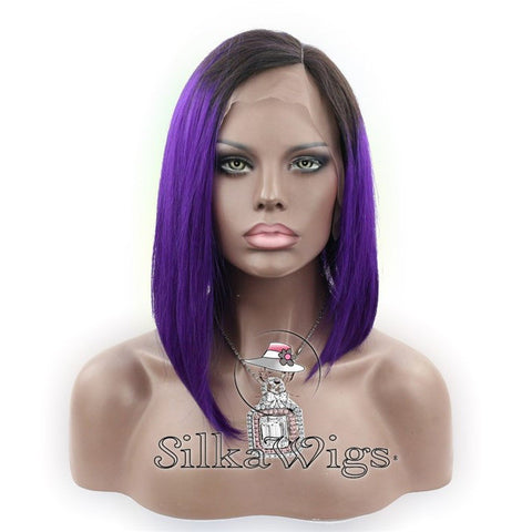 100% Human Hair Ombre Purple and Black Stylish Bob Style Full Lace Wig