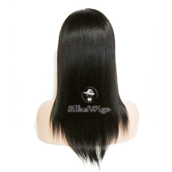 Silky  Straight 100% Virgin Human Hair Lace Front Wig Glueless Cap