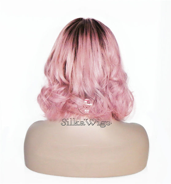 Pink Lose Wave Bob Cut 100% Human Virgin Hair Lace Front Glueless Wig
