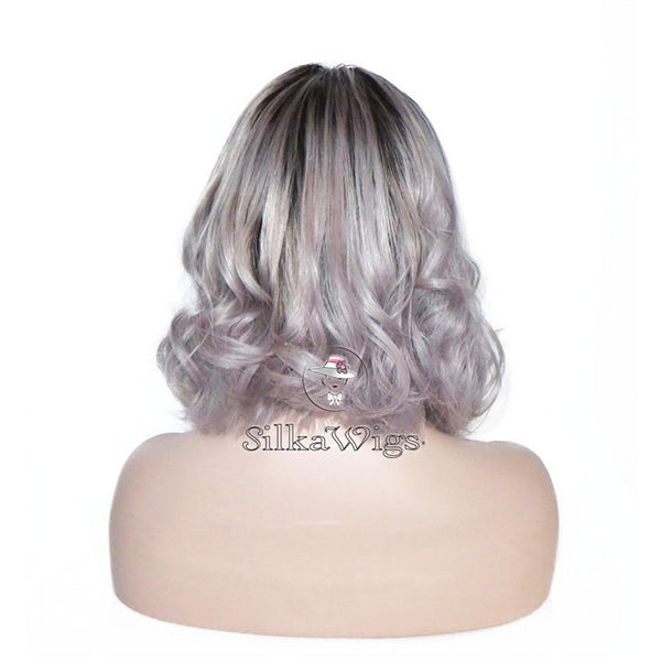 Short Wavy Hair Ombre Silver Grey Bob Cut Silk Top  European Human Hair Full Lace Wig