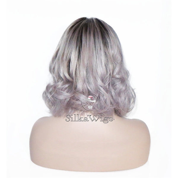 Wavy Ombre Dark Root Grey  Bob Cut Full Lace Wig 100% Human Hair