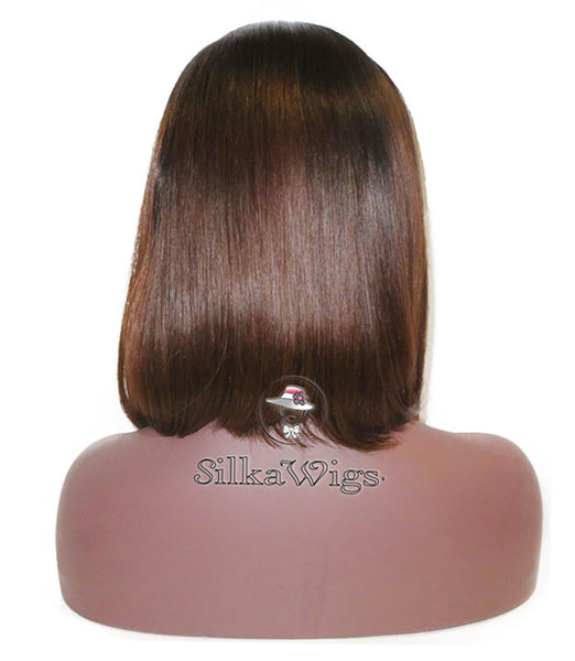 Bob With Bangs 100% Human Hair Ombre Dark Root  Lace Front Wig