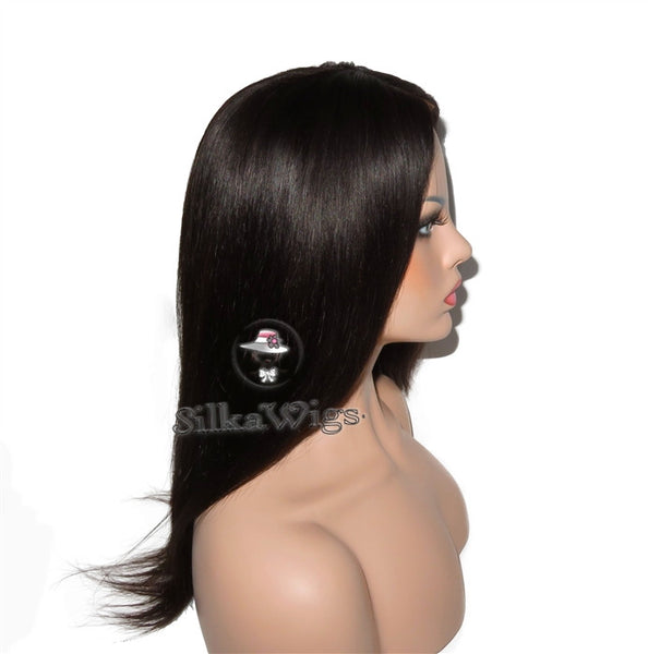 Silky Straight 100% Virgin Human Hair Full Lace Wig Glueless Cap