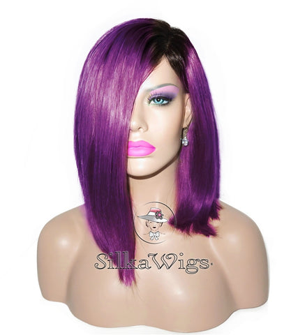 100% Human Hair Dark Root To Purple Bob Cut Lace Front Wig