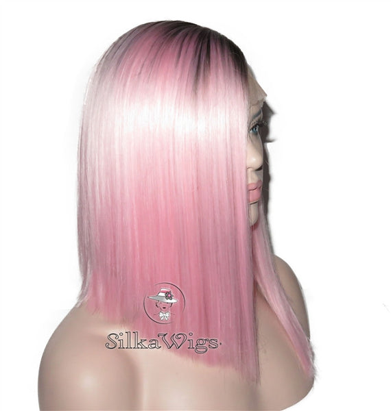 100% Human Hair Ombre Pink Dark Root Bob Lace Front Wig