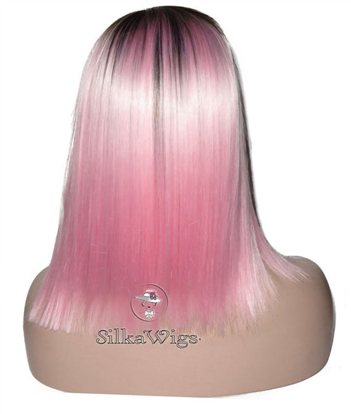 Ombre Pink Dark Root Bob Cut Lace Front Wig 100% Human Hair