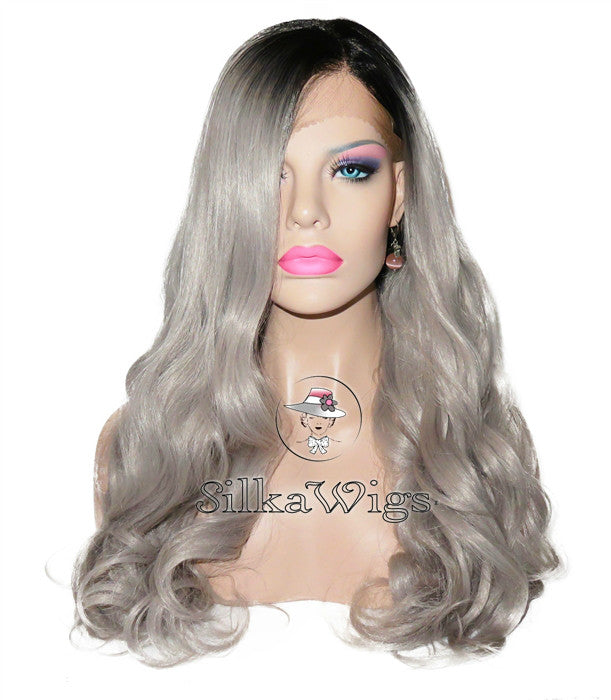 Loose wave Ombre Grey 100% Virgin Human Hair Full Lace Wig
