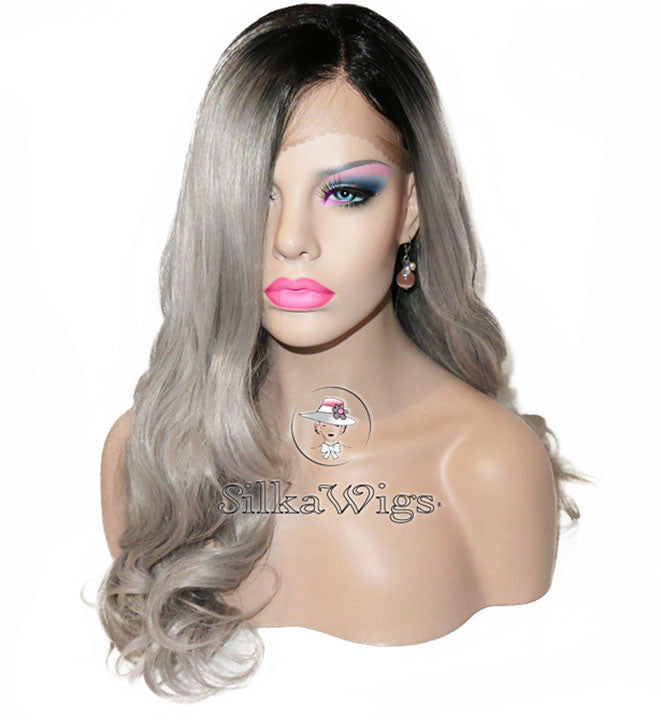 ... Etsy Handmade Ombre Grey Dark Root 100% Virgin Human Hair Full Lace Wig  ... 59a4bb417