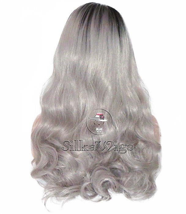 Loose Curl Ombre Grey 100% Human Hair Full Lace Wig Glueless Cap