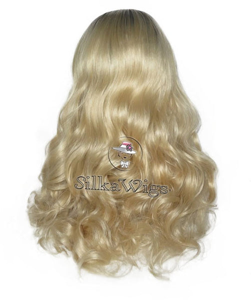 Loose Curl Ombre Dark Root Blonde 100% Human Virgin Hair Lace Front Wig